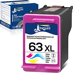 InkSpirit Remanufactured 63 Tri-Color Ink Cartridge Replacement for HP 63XL 63 XL Used in Envy 4520 3634 OfficeJet 3830 5252 4650 5258 4655 4652 5255 DeskJet 3636 1111 3630 1112 3637 3632 (1-Pack)
