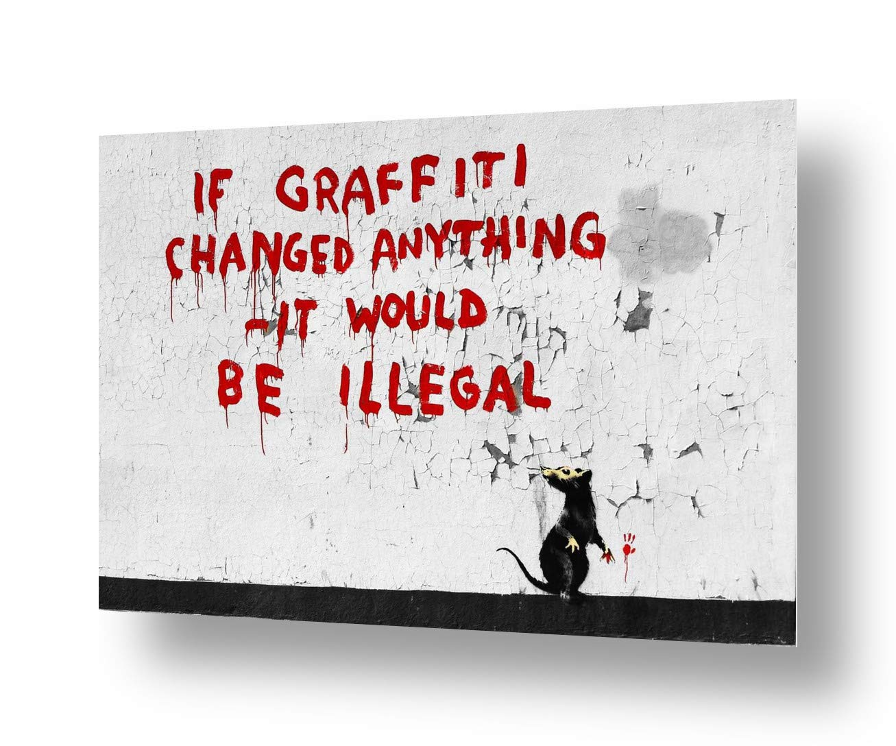 """Alonline Art - If Graffitti Changed Anything by Banksy   print on canvas   Ready to frame (synthetic, Rolled)   24""""x16"""" - 61x41cm   Wall art home decor for office or for bathroom   giclee picture"""