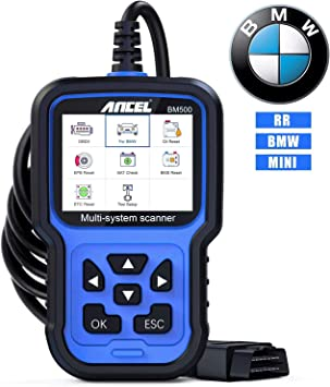 Ancel Bm500 All System Obd2 Scanner For Bmw Mini Car Diagnostic Scan Tool For Engine Abs Srs Tcm 4wd Hvac Immo System With Bmw Battery Registration Cbs Epb Etc Bms Pcm Oil Reset