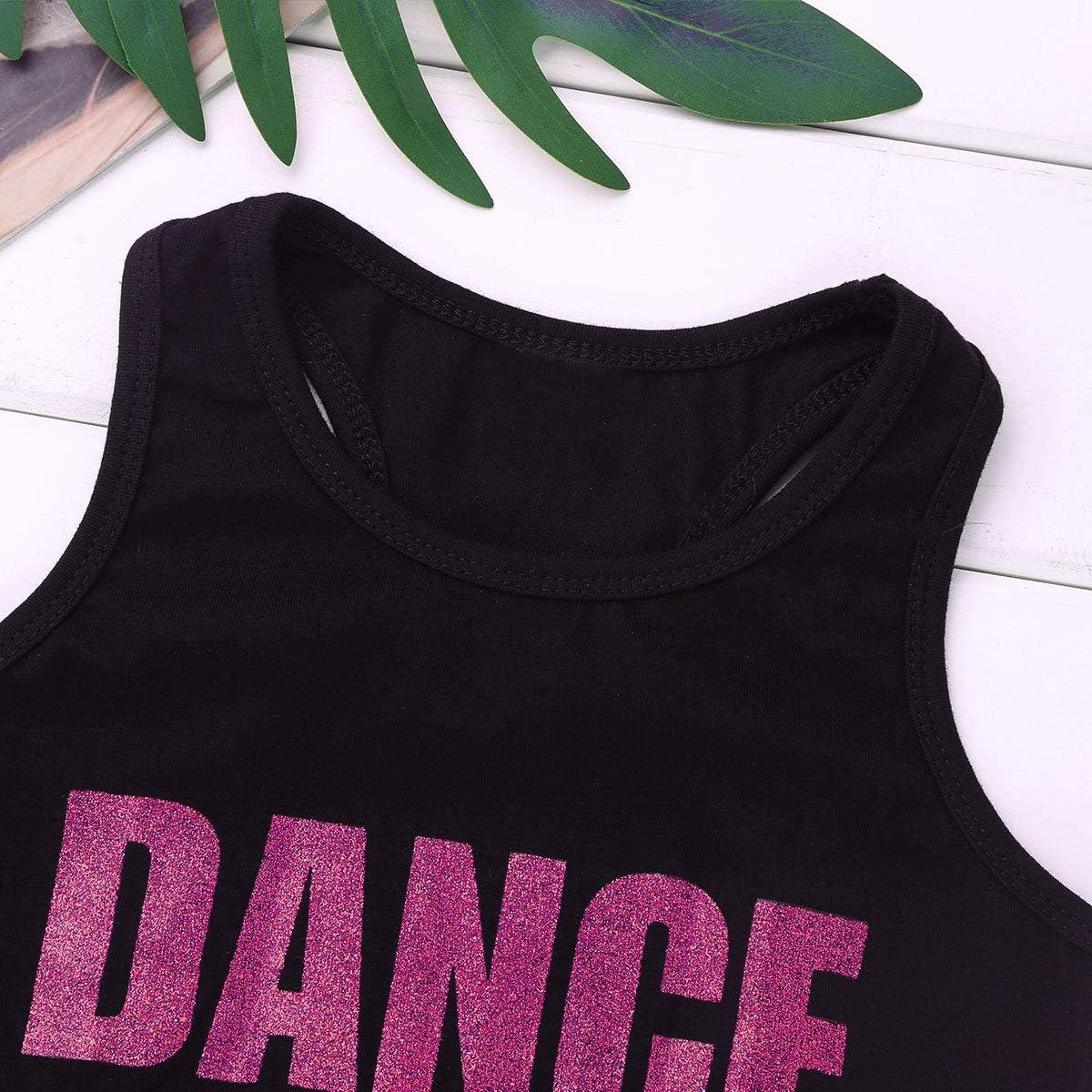 ranrann Kids Girls Sleeveless Racer Back Shiny Letters Dance Printed Crop Top Sports Bra for Ballet Dance Athletics Sport Workout