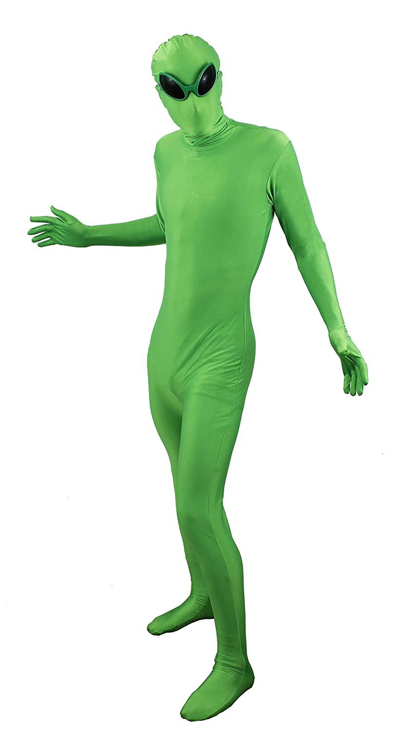 91710c5ee ILOVEFANCYDRESS® ALIEN FANCY DRESS SKIN SUIT COSTUME HALLOWEEN MARTIAN  SPACE TRAVELLER UFO MAN GREEN SKINSUIT + ALIEN GLASSES SMALL