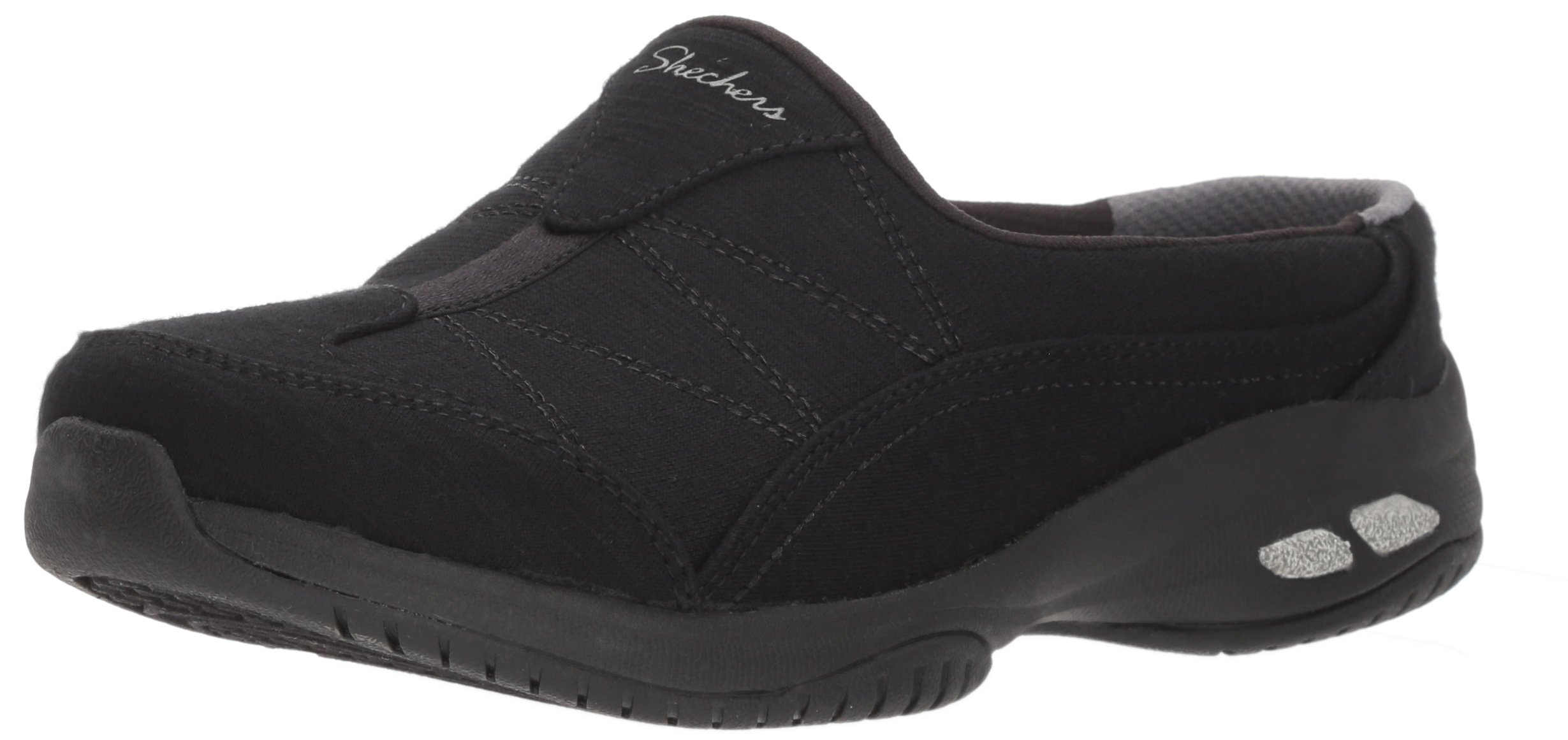 Skechers Women's Commute-Carpool-Heathered Deco Stitch Mule, Black/Black, 9 M US