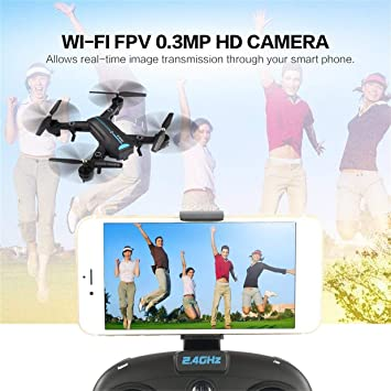 Qewmsg A6W Plegable RC Drone Wi-Fi FPV con cámara de Video en Vivo Altitude