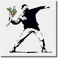 KiarenzaFD Quadro su Tela Canvas Stampa Banksy Flower Thrower Gerusalemme Murales