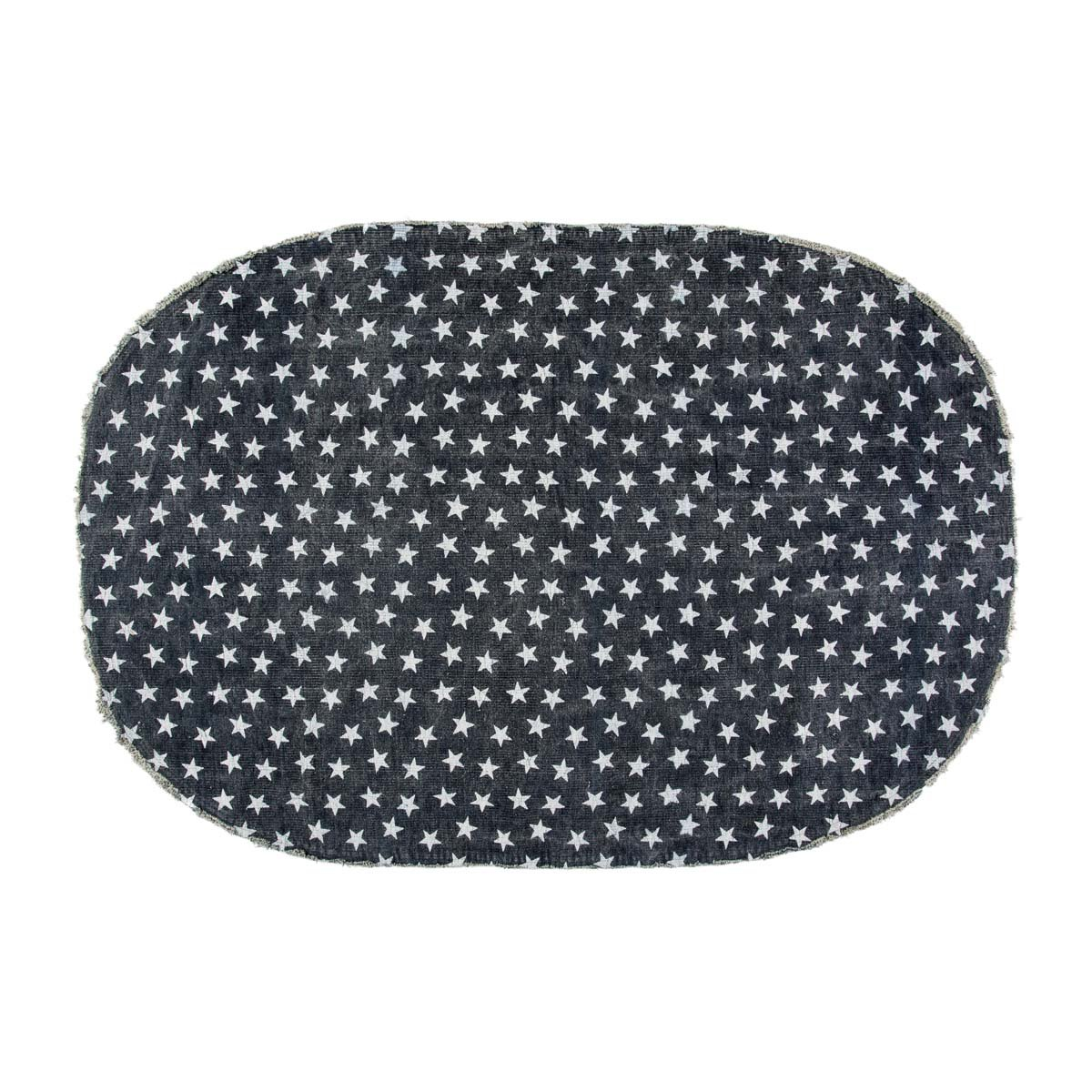 VHC Brands 16064 Multi Star Oval Cotton Rug 5 x 8 Navy