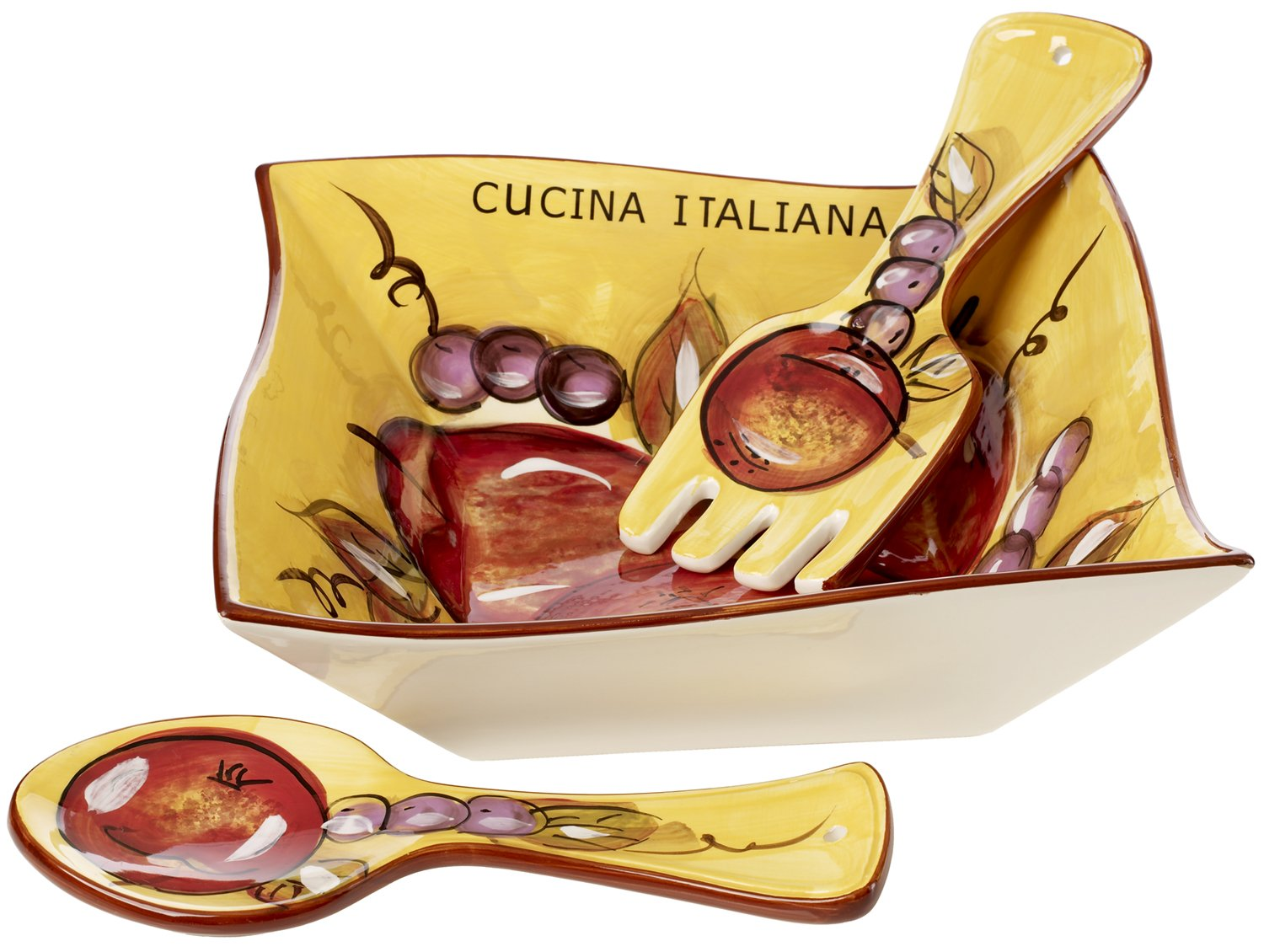 Cucina Italiana Ceramic Large Salad, Pasta Serving Bowl with Servers Square, 60 Oz,10 x 10 Inches, Yellow