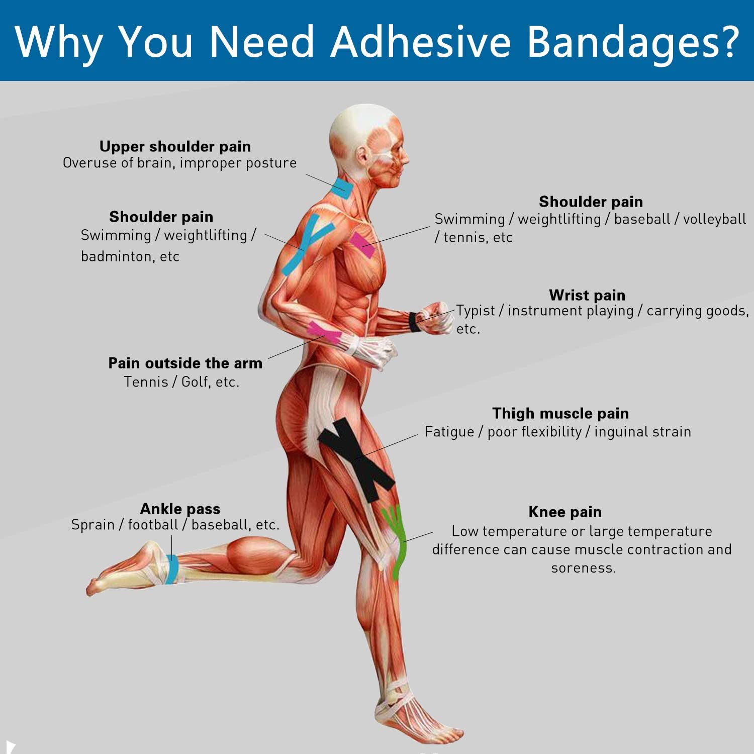 """Self Adhesive Wrap Cohesive Wrap Bandages 6 Count 3"""" x 5 Yards, Medical Tape, Adhesive Flexible Breathable First Aid Non Woven Rolls, Stretch Athletic, Ankle Sprains & Swelling, Sports: Health & Personal Care"""