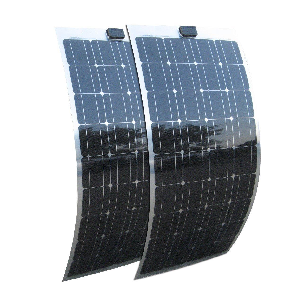 ECO-WORTHY 200W Solarzellen - 2 x 100W Solarmodul MONOKRISTALLIN Flex, Semi-flexibel, biegbar, für Solarpanel Marine-RV, Boot Batterie-Ladegerät 12 V-System