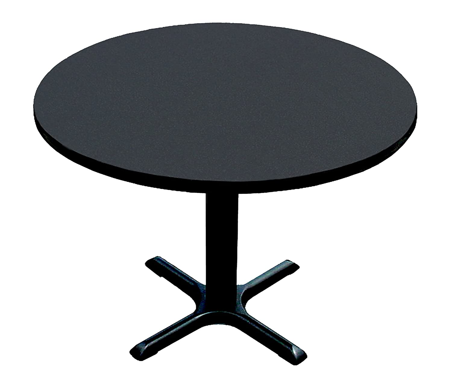 Correll BXT48R-07 Black Granite Top and Black Base Round Bar, Café and Break Room Table, 48""
