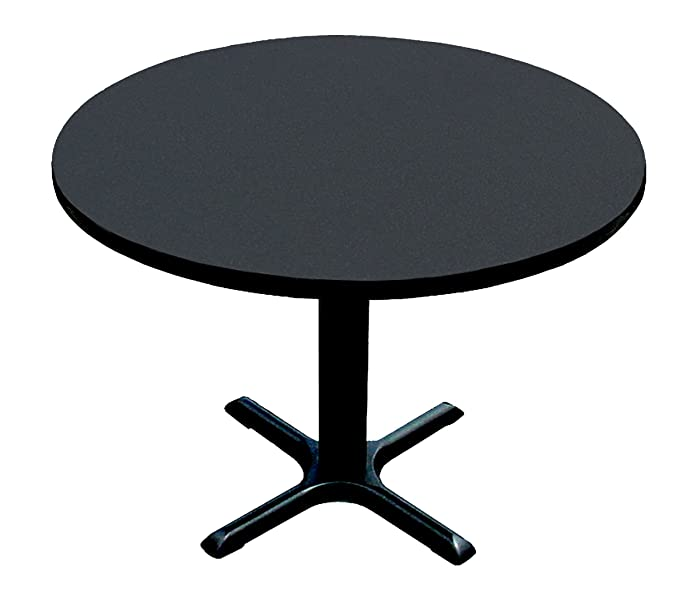 """Correll BXT24R-07 Black Granite Top and Black Base Round Bar, Café and Break Room Table, 24"""""""