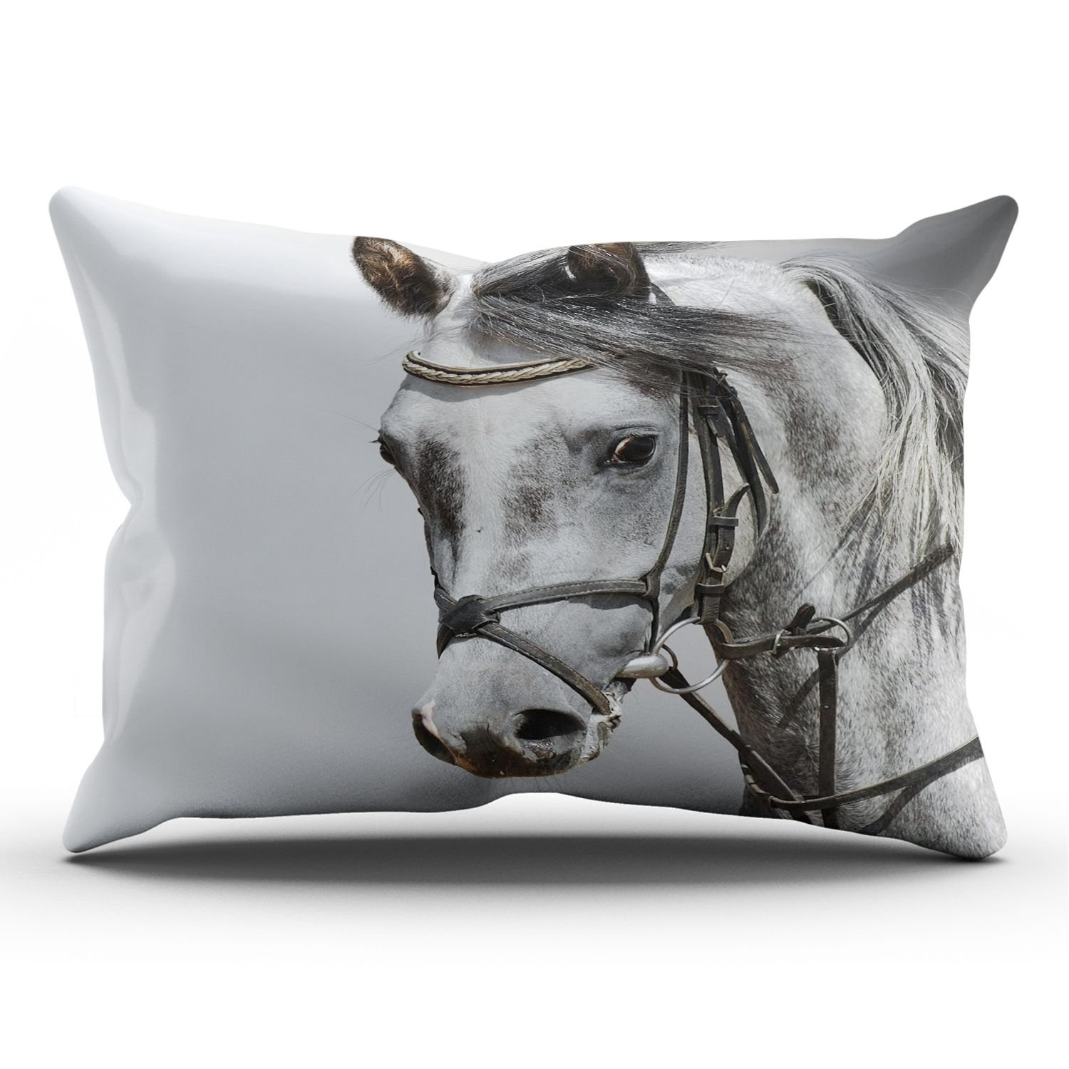 KEIBIKE Personalized Animals Horse Mane Color Head Rectangle Decorative Pillowcases Vintage Zippered King Pillow Covers Cases 20x36 Inches One Sided