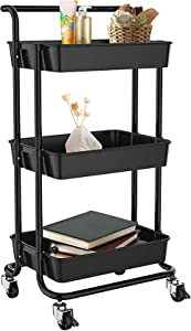 3 Tier Rolling Utility Storage Cart with Handles and Roller Wheels Craft, Multifunctional Large Storage Trolley, Storage Shelves with Mesh Basket for Office, Home, Kitchen, Bedroom, Bathroom, ect.