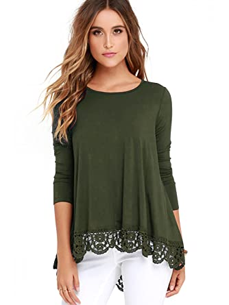 ce217f9fe6ec FISOUL Women's Tops Long Sleeve Lace Trim O-Neck A-Line Tunic Tops at  Amazon Women's Clothing store: