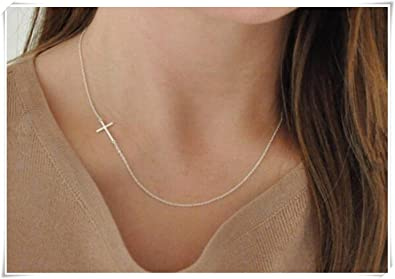 7f5e9cd2ab9b Image Unavailable. Image not available for. Color  Sideways Cross Necklace  - Sterling Silver - On The Side - Small - Dainty ...