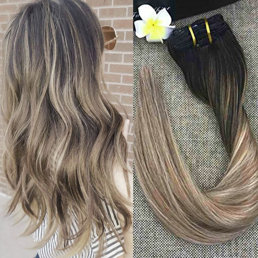Amazon Full Shine 14 Inch Balayage Remy Human Hair Extensions