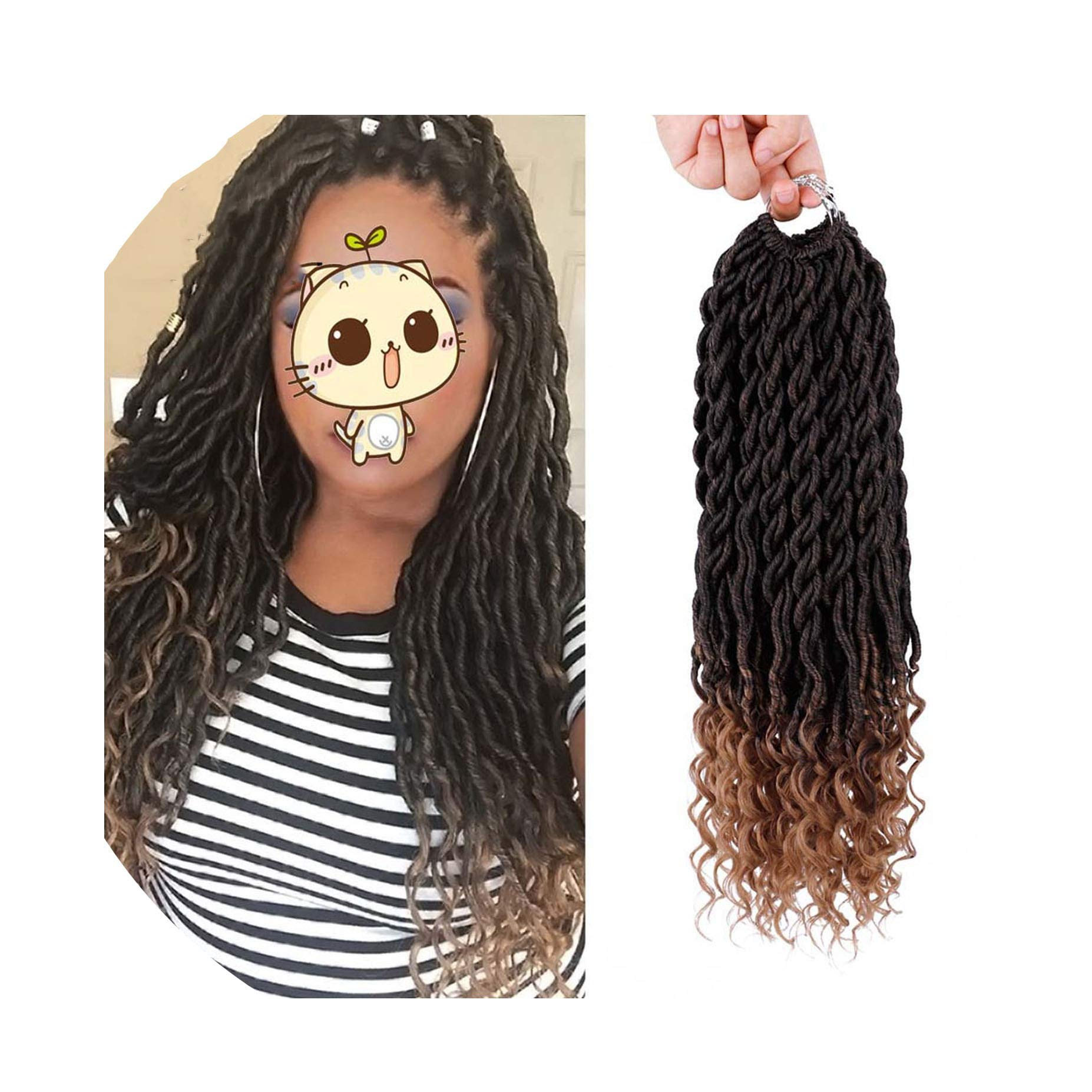 Bohemian Faux Locs Curly Crochet Braids Braiding Hair Bulk Crochet Hair Extensions Synthetic Hair,T1B/27,18inches,7Pcs by Ting room