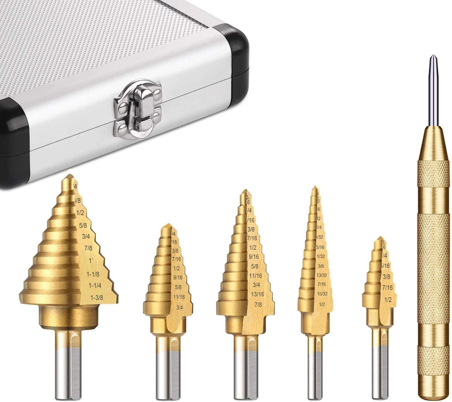 Akozon Schritt Bohrer Bit 1pc Schnellarbeitsstahl-Titan beschichtete Schritt-Bohrer 4mm-20mm gewundene Fl/öte dreieckiger Schaft-Bohrger/ät,HSS Profi Pagoda Stufenbohrer Set Step Drill Bit
