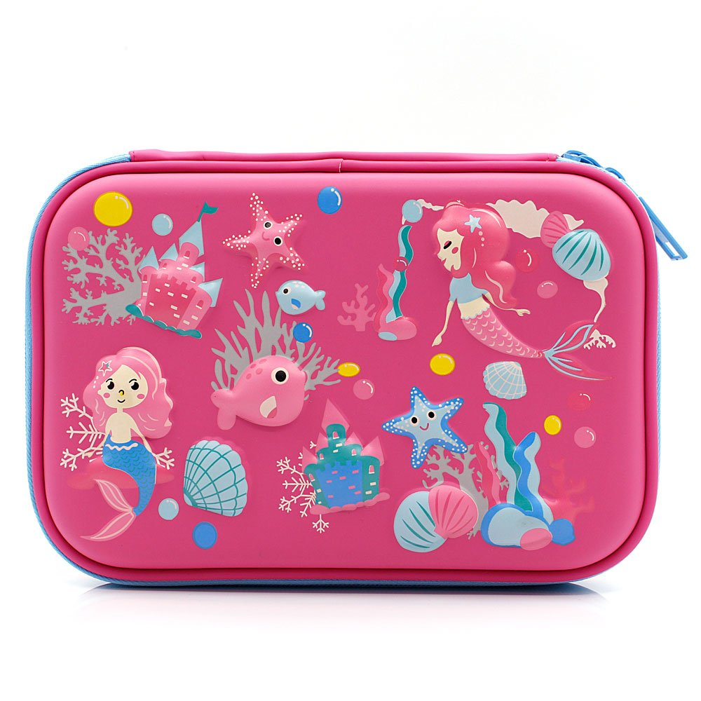 Mermaid Big Capacity Hardtop Pencil Case with Compartment - Cute School Stationery Supply Organizer Box Pen Holder for Kids Girls Toddlers (Hot Pink)