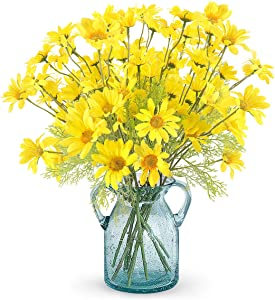 RERXN Artificial Flowers Silk Daisy Perennials Long Stem Fake Gerbera Sunflower Home Wedding Office Decor (Pack of 10)(Yellow-10pcs)