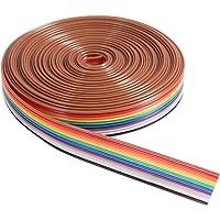UEETEK 5 m 10 stift regnbågsfärg platt band IDC trådkabel
