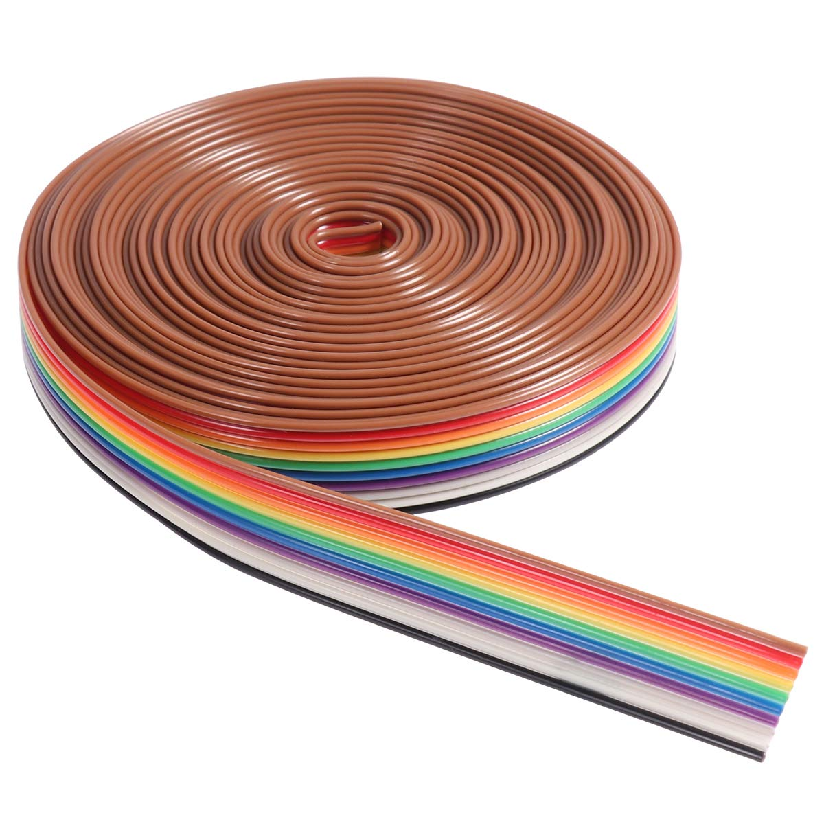 UEETEK 5M 10 Pin Rainbow Flat Ribbon Cable Wire