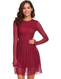 4e5b8a3884a1 Chigant Tülle Brautjungfern Kleid Langarm Mini Spitzenkleid Rundhals  Abendkleid Cocktailkleid Partykleid