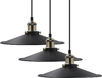 Luminaire Plafonnier Suspension Lampes Pendante Noir Metal Suspendu Abat Jour Diamètre 30CM Hauteur de Suspension Maximum 2 Mètres 3 Pack de Enuotek