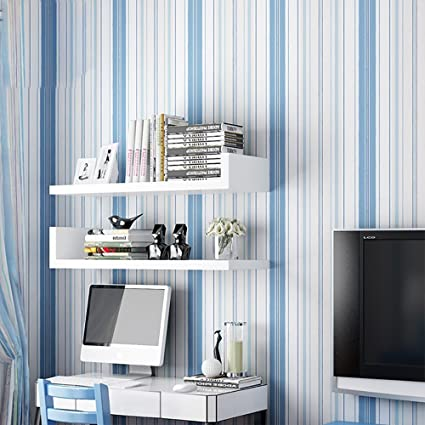 Non Woven Self Adhesive Wallpaper Vertical Stripes Romantic College Dormitory Bedroom Stickers Girls