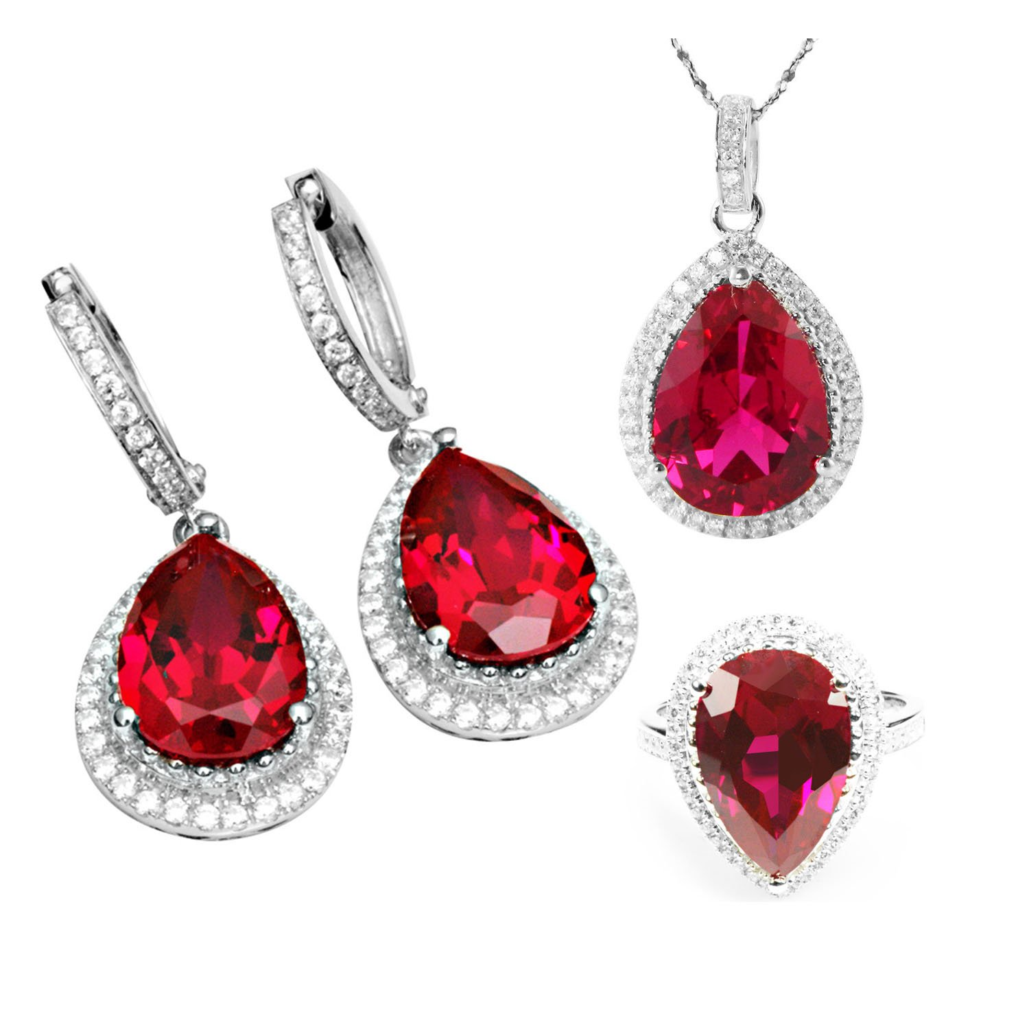 Jewelrypalace Ruby Sets Dangle Earrings Pendant Necklace Engagement Ring 925 Sterling Silver Size 6