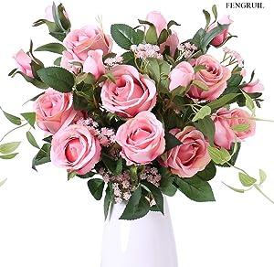 FENGRUIL 27.5'' Long Stem Silk 2-Head Rose Flowers Arrangements Bouquet for Desktop Floor Centerpiece Bridal Wedding Decoration(Rose Pink)