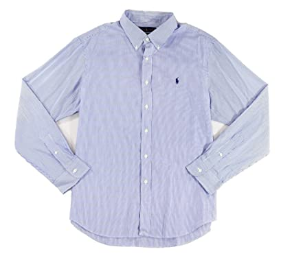 af3eabcc3fb514 Ralph Lauren Men's Slim-Fit Striped Poplin Button Shirt at Amazon Men's  Clothing store: