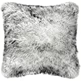 OJIA Deluxe Home Decorative Super Soft Plush Mongolian Faux Fur Throw Pillow Cover Cushion Case (18 x 18 Inch, Black White)