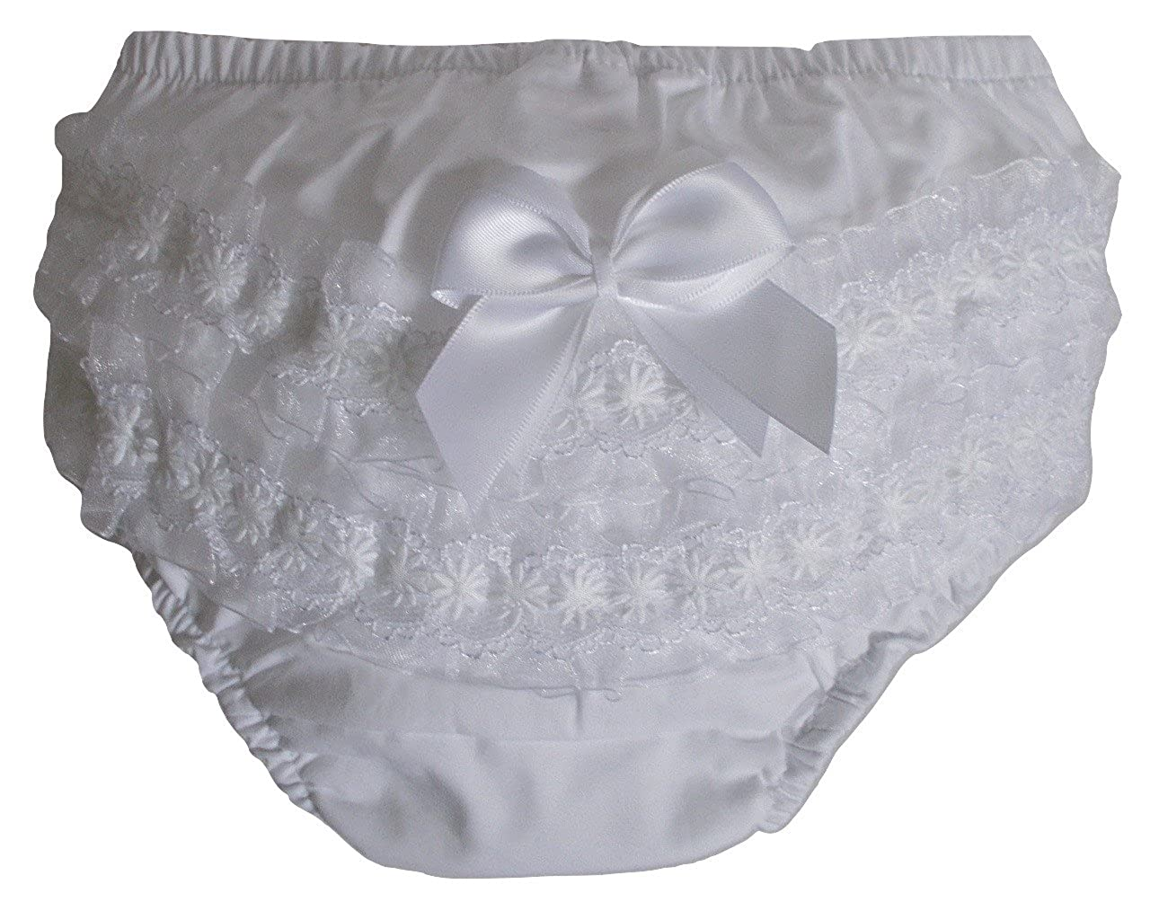 Soft Touch Baby Girls Frilly Nappy Cover Knickers, Frill Back Pants, Diaper Covers (White)