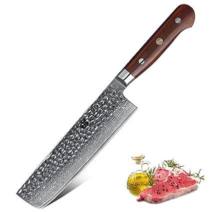 XINZUO Cuchillo de Nakiri Cocina 18cm de Acero Damasco Japonés 67 Capas Profesional Cuchillo de Chef con Rosewood Mango - Yun Serie