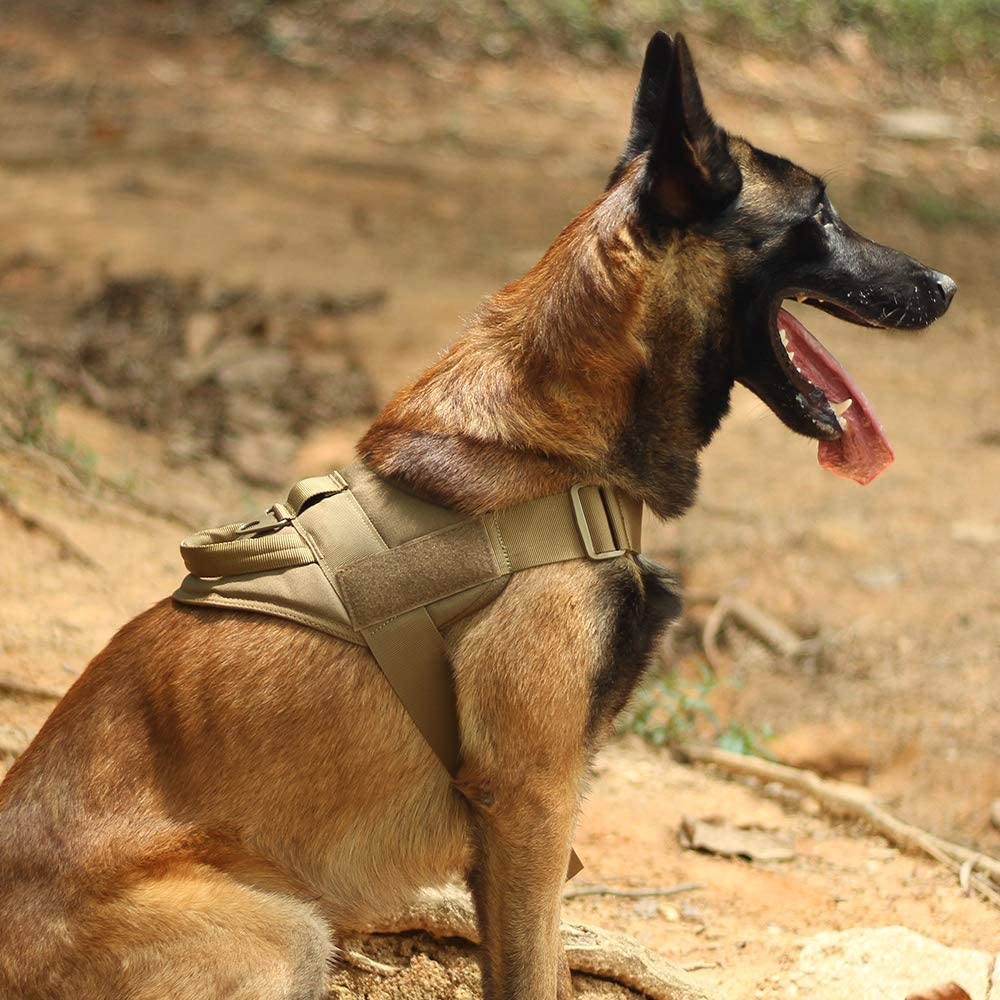 EXCELLENT ELITE SPANKER Tactical Dog Harness Training Military Patrol K9 Dog Vest Adjustable Nylon Military Dog Harness with Handle