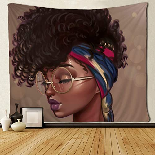 SARA NELL Afro Traditional Woman Scarf Tapestry African American Women Tapestries Wall Art Hippie Bedroom Living Room Dorm Wall Hanging Throw Bedspread 60×90 Inches