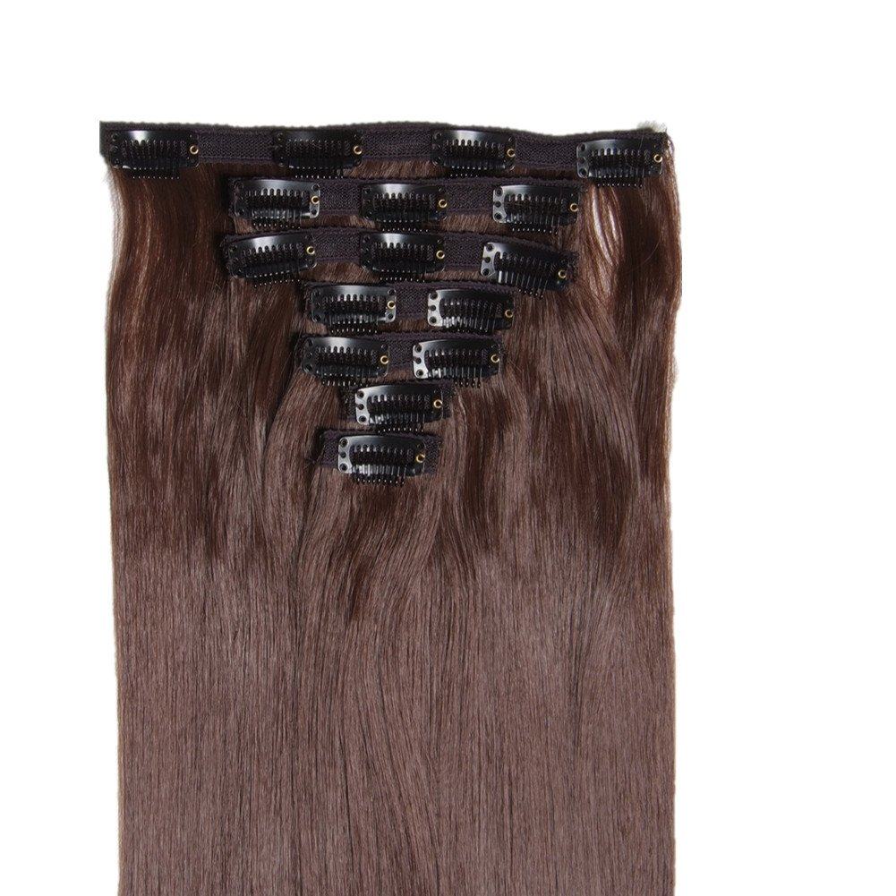 """Msbeauty Hair 24"""" Silky Straight Clip In Synthetic Hair Extensions Full Head Set Color #8 Light Chestnut Brown 7 pcs Weight 140G"""
