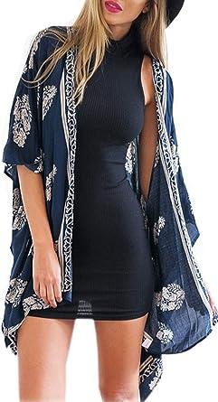 Minetom Mode Femme 2015 Elegant Casual Cardigan Manches Longues Blouse Imprimee Tops Robe De Plage Bikini Cover Up Amazon Fr Vetements Et Accessoires