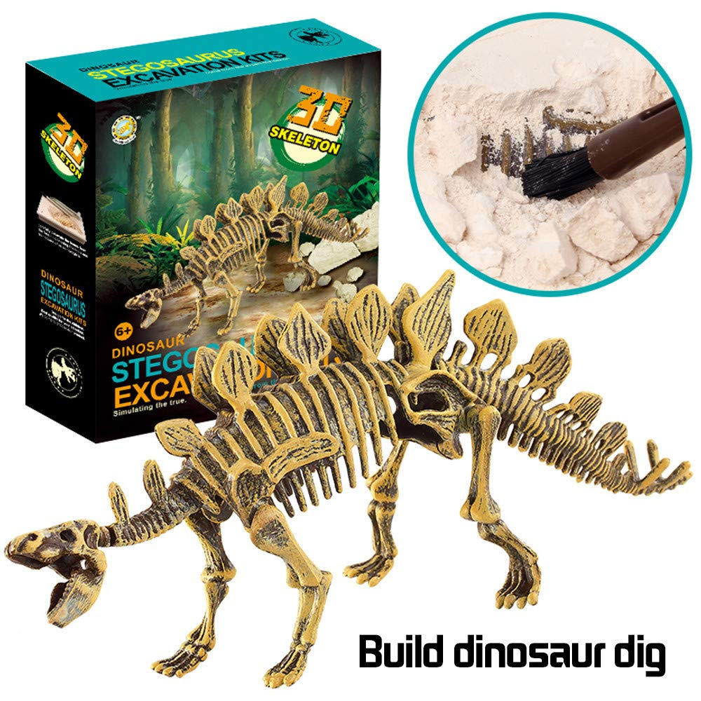 Gbell Dinosaur Digging Fossil Kit, Dinosaur Fossils Excavation Dino Skull Bones Dig Up Kit Educational Science Toys for Kids Boys Girls 5 + Year Old Archaeology