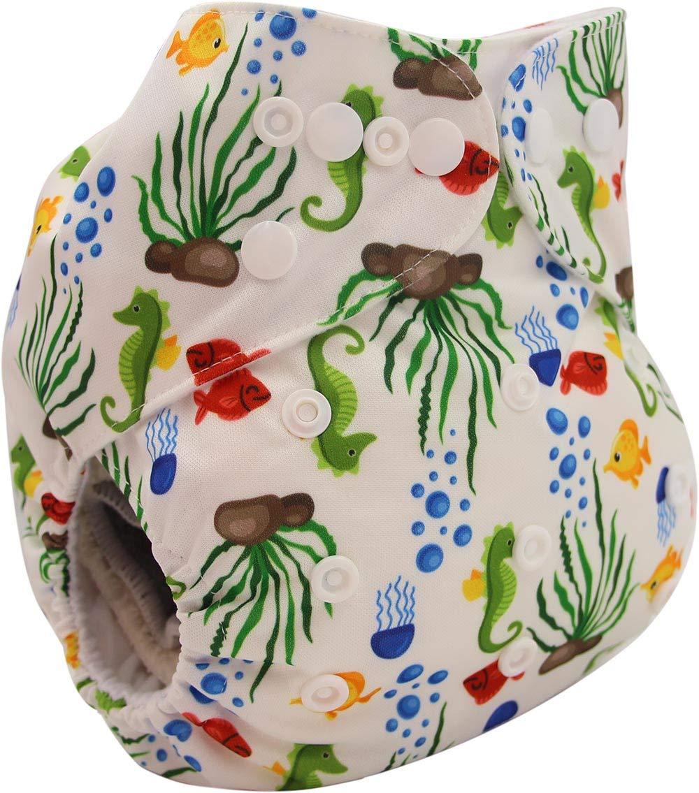 OB186-Lemon Ohbabyka Reusable Washable Baby Boys//Girls Pocket Cloth Diapers with 1pc Insert