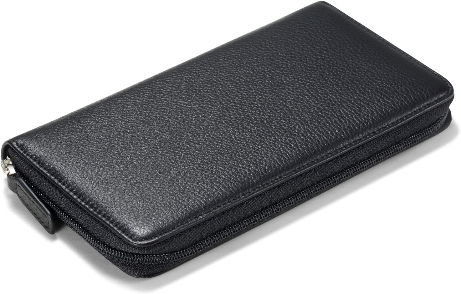HISCOW Zippered Checkbook Cover /& Card Holder with Divider Wine Red Italian Calfskin