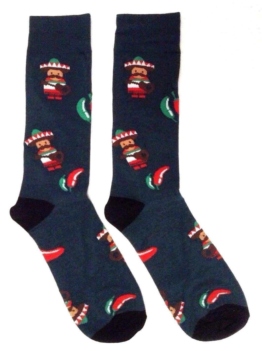 Novelty Fine Fit Crew Socks - Mix Prints (Green Mariachi Chili Pepper)