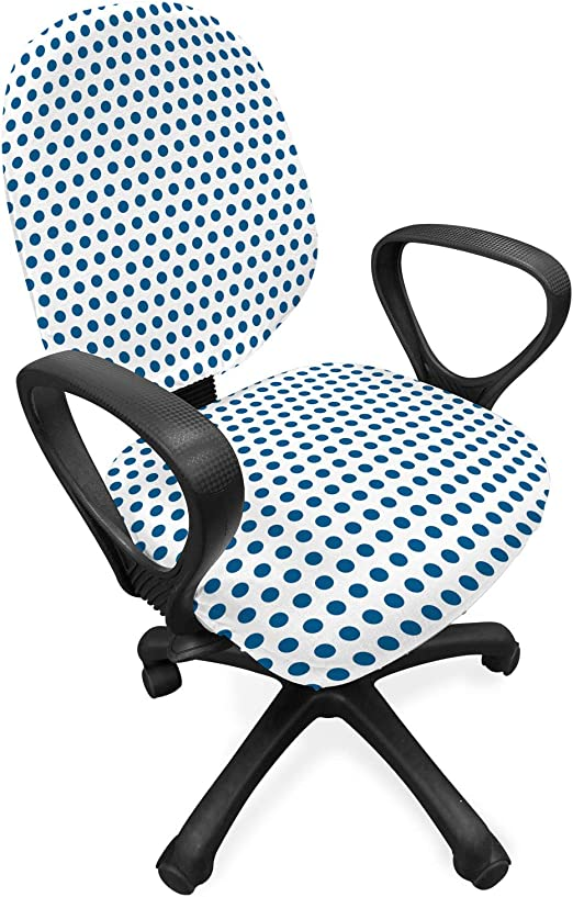 Amazon Com Lunarable Vintage Office Chair Slipcover Retro Polka Dots Navy Blue Circles Pop Art 50s 60s Picnic Inspired Image Protective Stretch Decorative Fabric Cover Dark Blue And White Home Kitchen