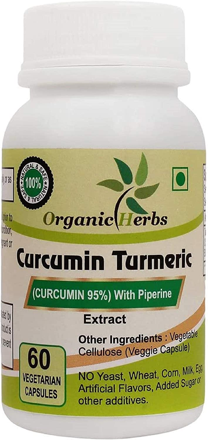 Organic Herbs High Potency Premium Immunity Support Joint & Healthy Inflammatory Support Standardized Curcuminoids. Non-GMO, Most Powerful Turmeric Supplement with Black Pepper (60 Count)