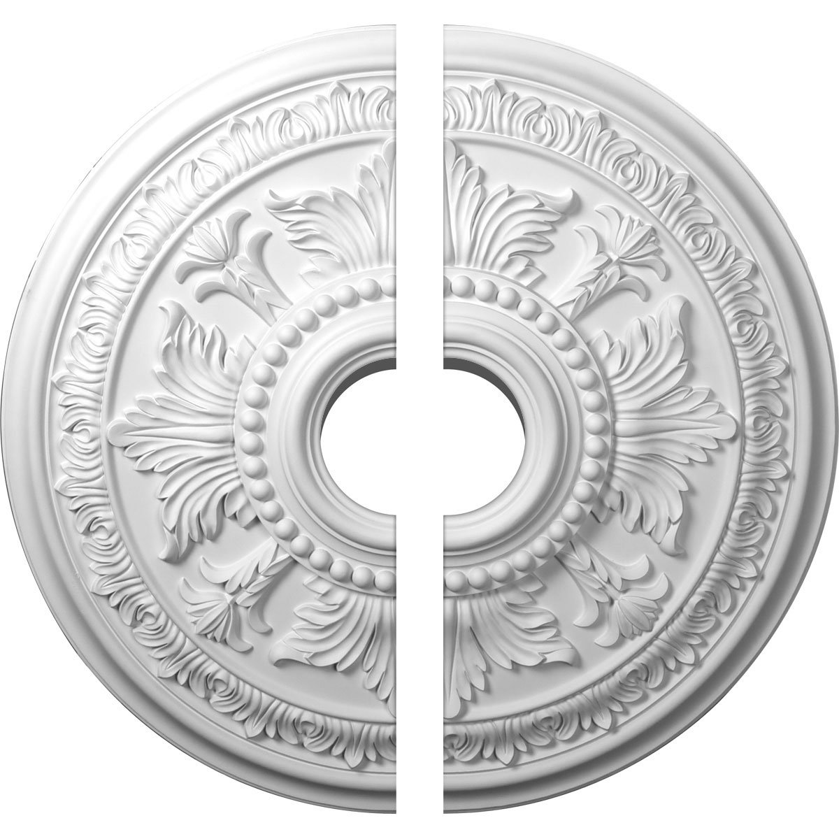 Ekena Millwork CM30TE2-06000 30 5/8'' OD ID x 2 1/2'' P Tellson Ceiling Medallion, Two Piece (Fits Canopies up to 6 3/4''), Factory Primed White