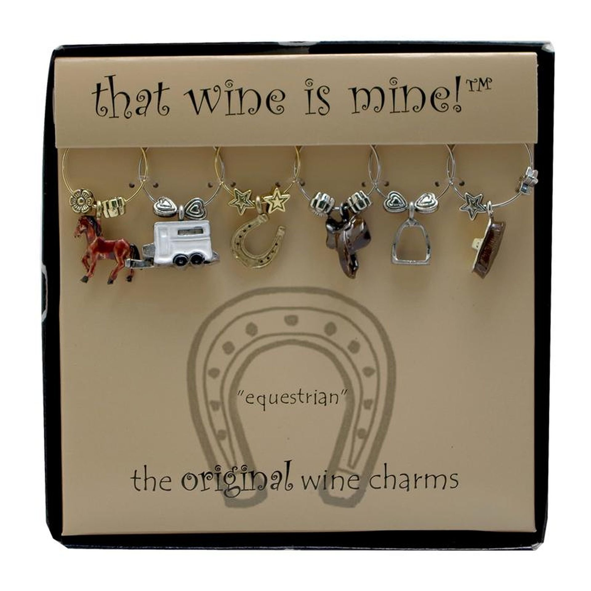Wine Things WT-1476P Equestrian, Painted Wine Charms, Fits neatly around stem, Multi-Color by Wine Things