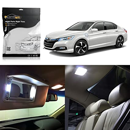 Partsam 2003 2012 Honda Accord White Interior LED Lights Package Kit (8  Pieces)