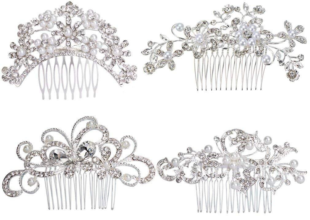 Hair Comb Pack of 4 Bridal Wedding Silver Crystal Rhinestones Pearls Wedding hair combs Women Hair Comb Bridal Head Pin Headpiece