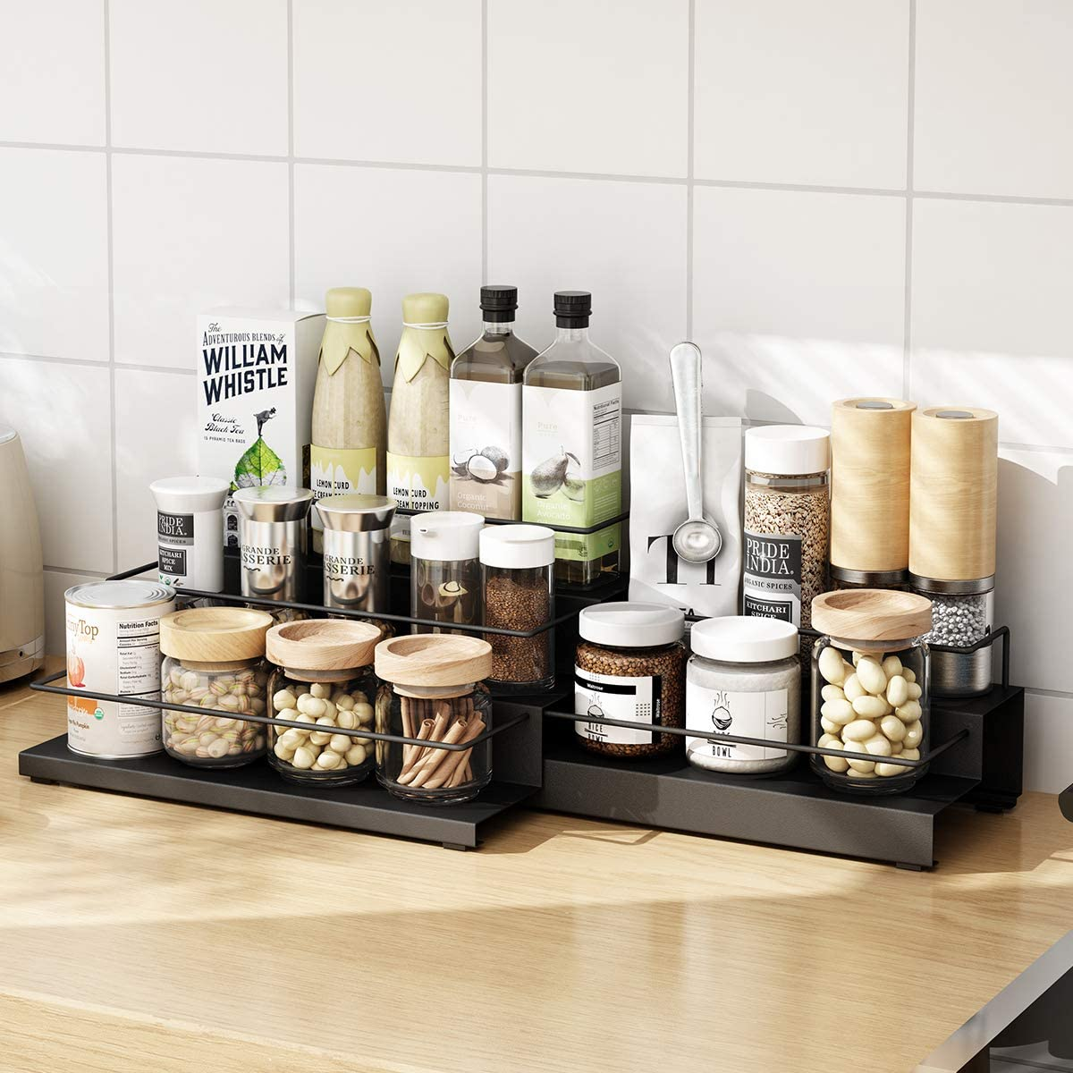 Spice Rack, Adjustable Kitchen Storage Shelf, Countertop Pantry Stand, 3+2 Tier Large, Black
