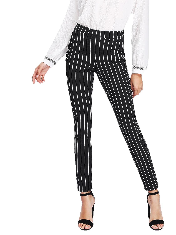 Black SweatyRocks Women's Striped Elastic Mid Waist Slim Fit Loose Casual Long Pants
